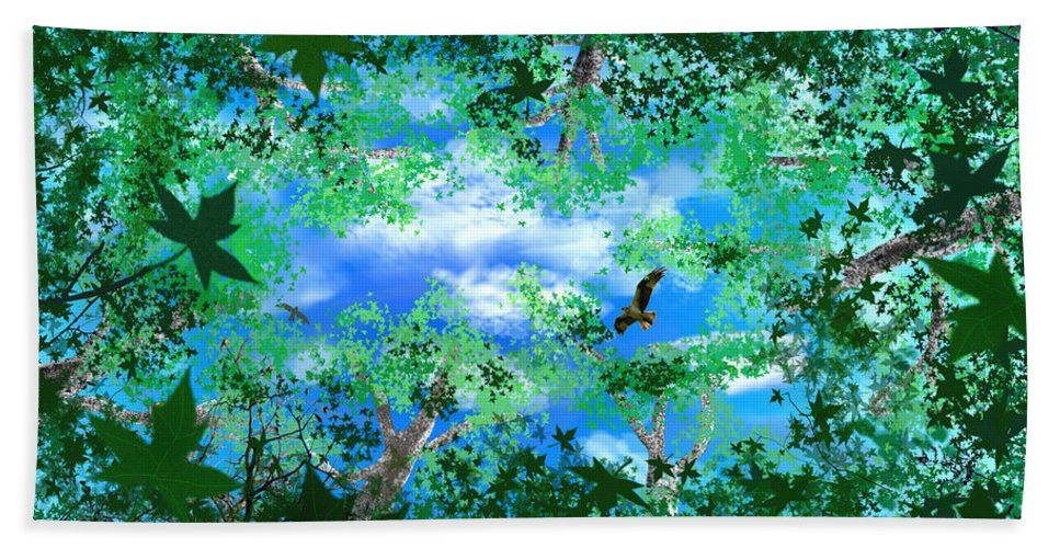 Skyscape Beach Towel featuring the digital art Laying On A Hammock by Steve Karol