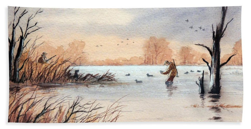 Duck Hunting Beach Towel featuring the painting Laying Out The Decoys I by Bill Holkham
