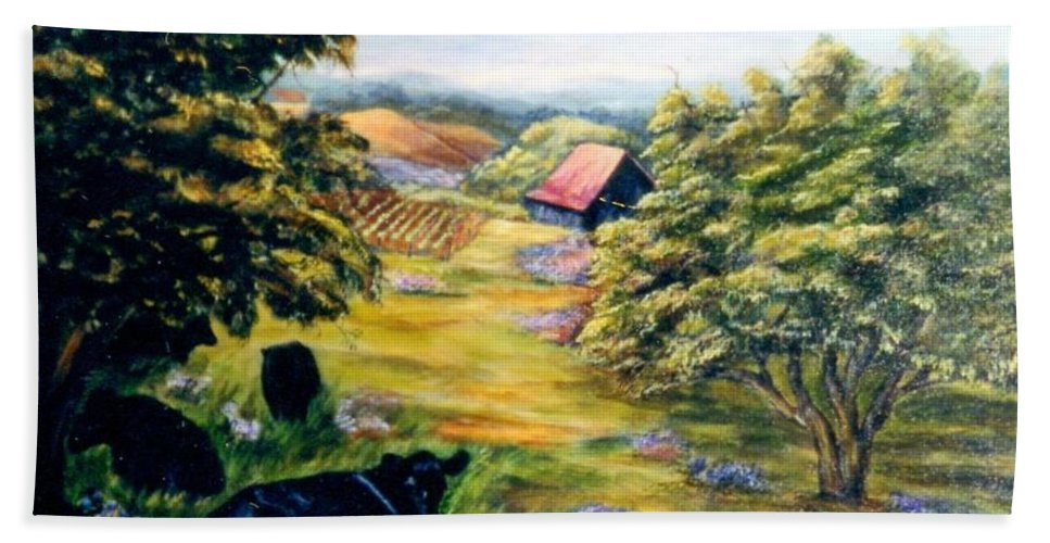 Cows Beach Towel featuring the painting Lazy Day by Gail Kirtz