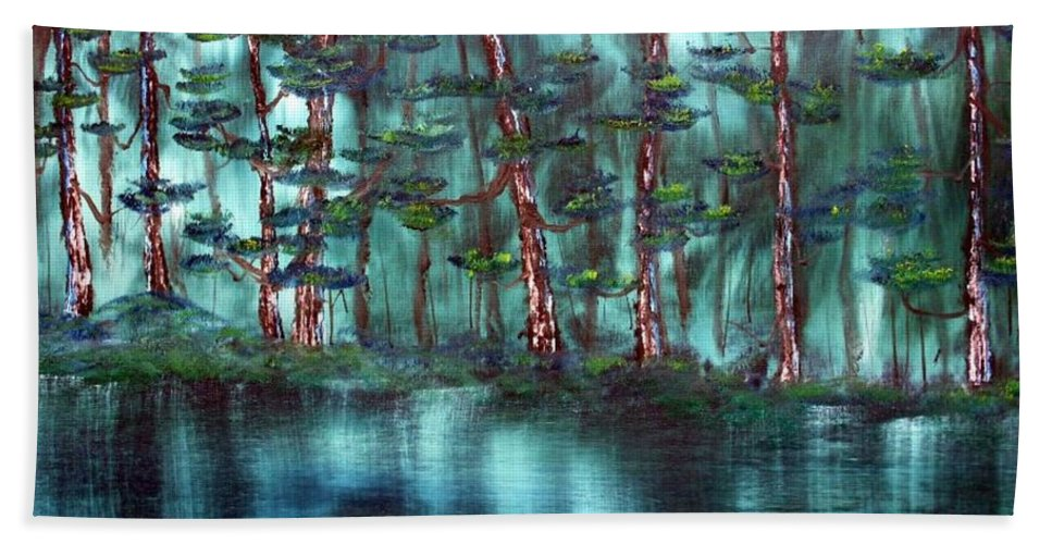 Landscape Beach Towel featuring the painting Lazy River by Ervin Sloan