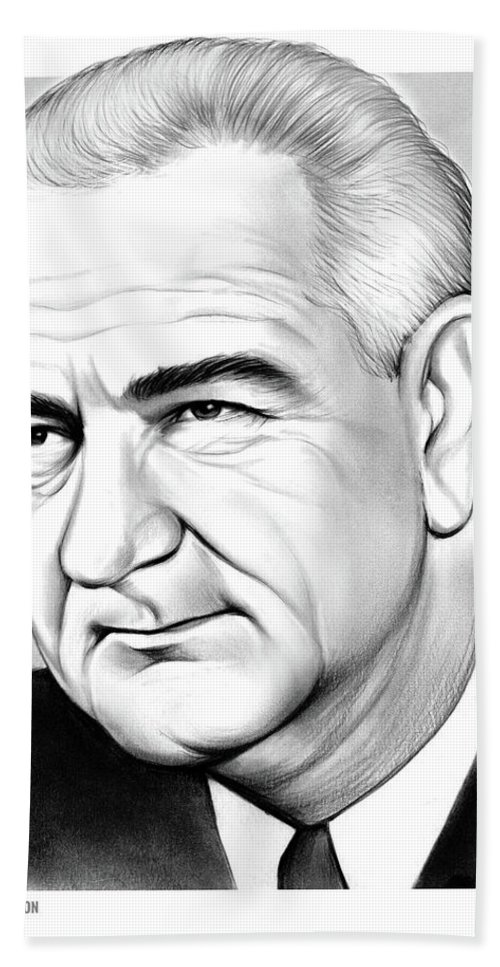 Lyndon Baines Johnson Beach Towel featuring the drawing LBJ by Greg Joens