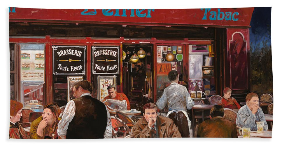 Brasserie Beach Towel featuring the painting Le Mani In Bocca by Guido Borelli