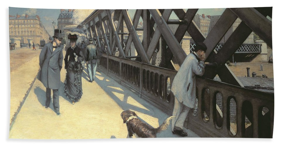 Urban Beach Towel featuring the painting Le Pont De L'europe by Gustave Caillebotte
