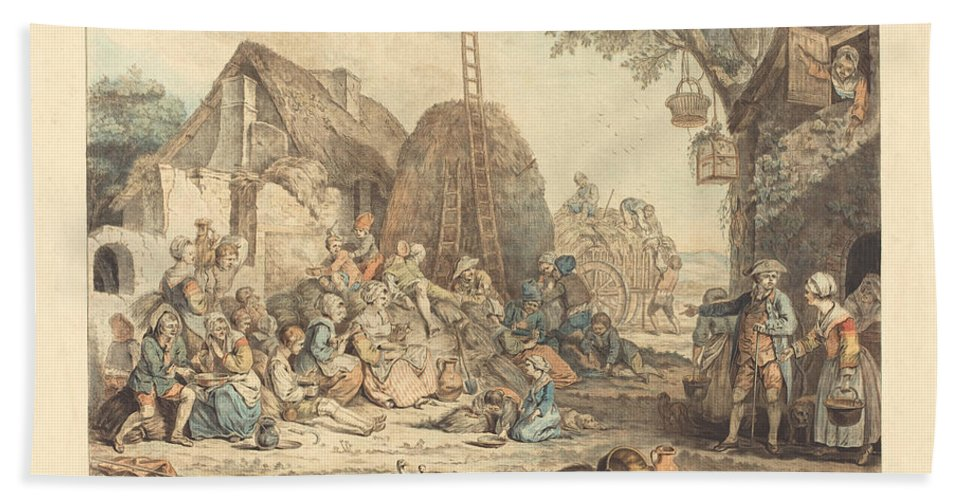Beach Towel featuring the drawing Le Repas Des Moissonneurs by Jean-fran?ois Janinet After Pierre Alexandre Wille