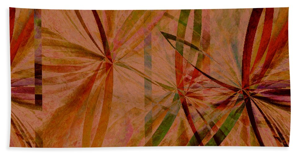 Abstract Beach Towel featuring the digital art Leaf Dance by Ruth Palmer