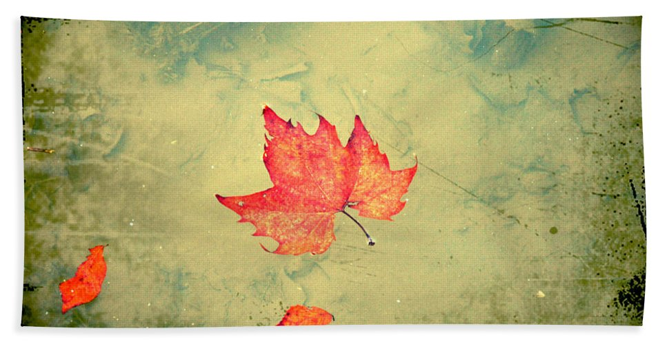 Leaf Beach Towel featuring the photograph Leaf Upon The Water by Bill Cannon