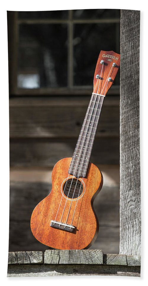 Ukulele Beach Towel featuring the photograph Leaning Uke by Keith May