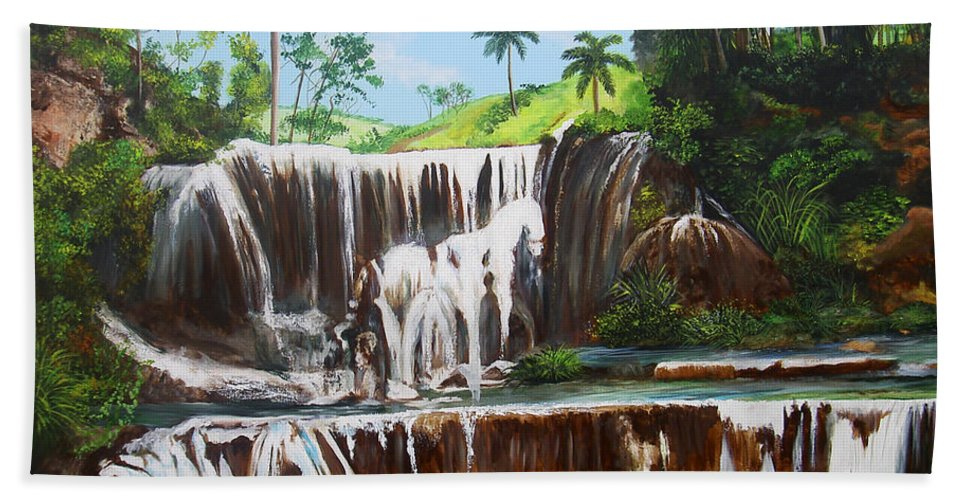 Cuban Waterfall Beach Towel featuring the painting Leaping Waterfall by Dominica Alcantara