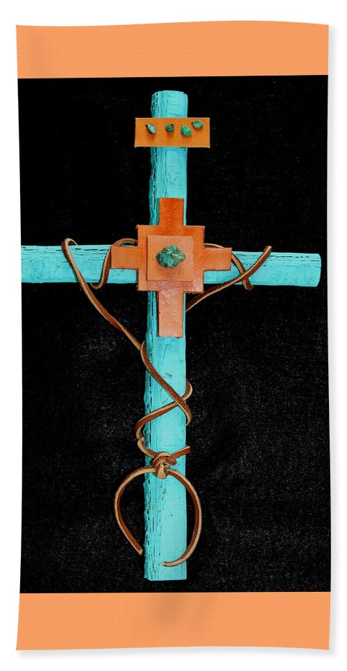 Leather Beach Sheet featuring the mixed media Leather And Stone Cross by M Diane Bonaparte
