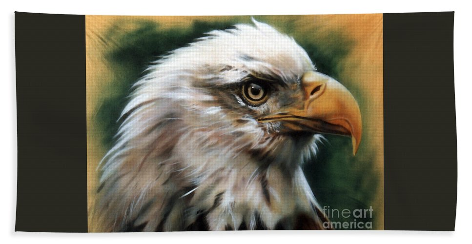 Southwest Art Beach Towel featuring the painting Leather Eagle by J W Baker