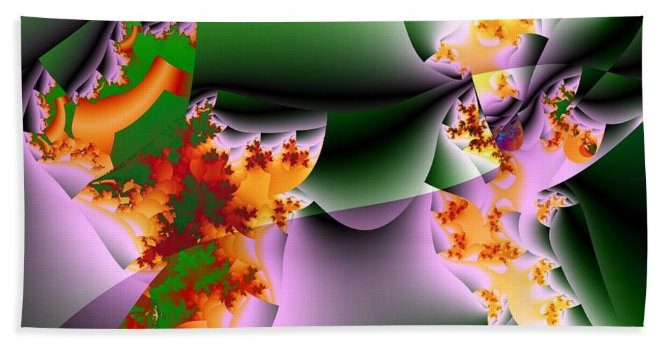 Flower Art Beach Towel featuring the digital art Leaves And Carpels by Ron Bissett