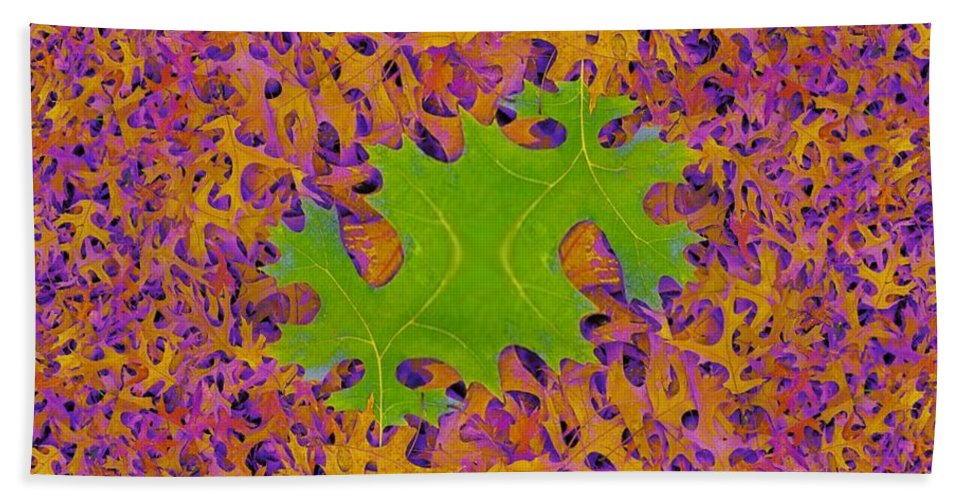 Leaves Beach Towel featuring the photograph Leaves In Fractal 2 by Tim Allen