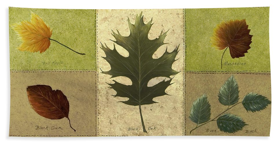 Still Life Paintings Beach Towel featuring the painting Leaves by Mary Ann King