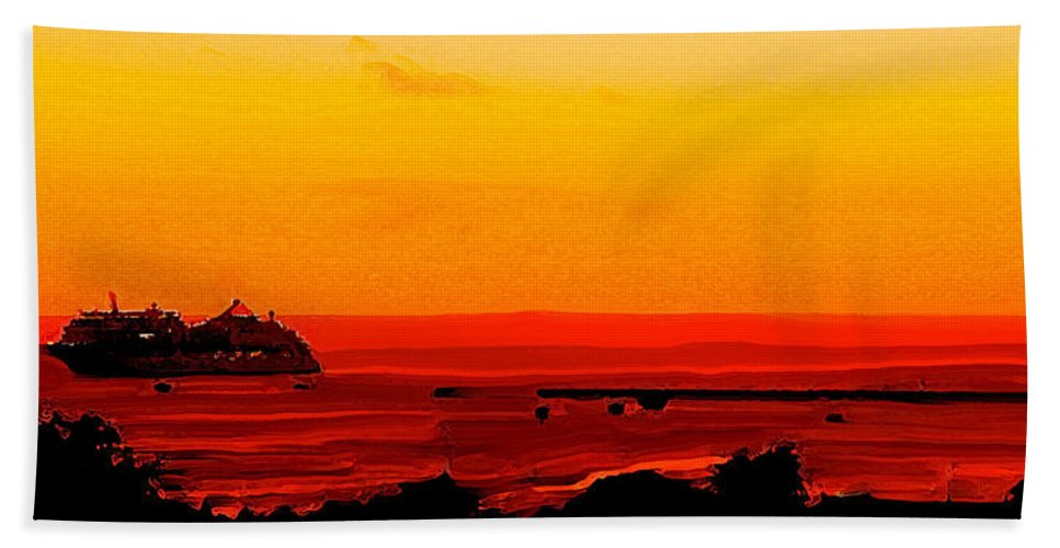 Abstract Beach Towel featuring the digital art Leaving Basseterre by Ian MacDonald