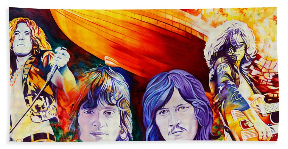 Led Zeppelin Beach Towel featuring the painting Led Zeppelin by Joshua Morton