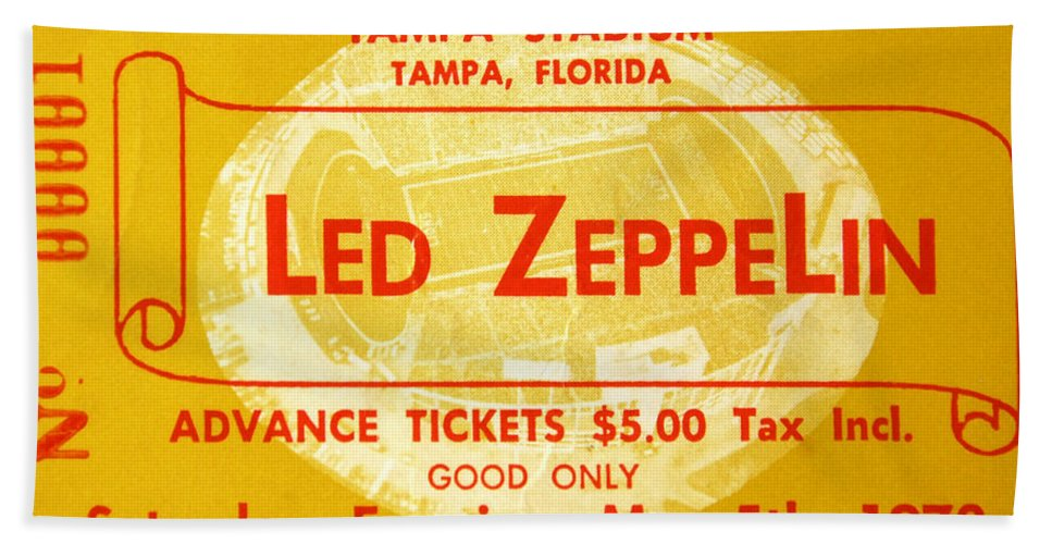 Fine Art Photography Beach Towel featuring the photograph Led Zeppelin Ticket by David Lee Thompson