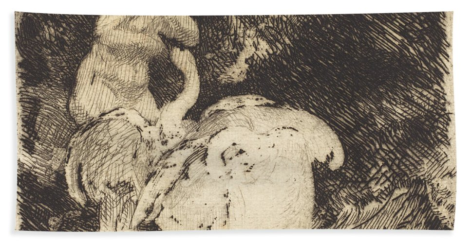 Beach Towel featuring the drawing Leda Bathing (l?da Au Bain) by Albert Besnard