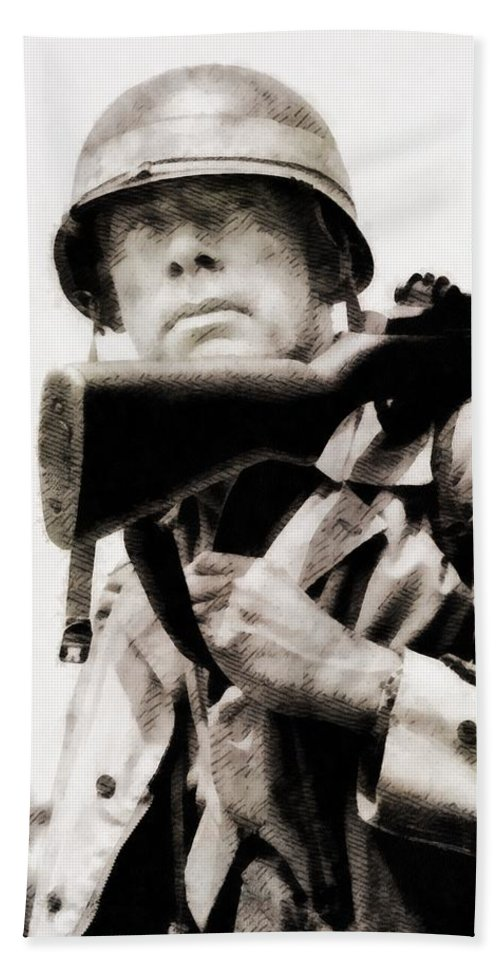 Hollywood Beach Towel featuring the painting Lee Marvin, Vintage Actor by John Springfield