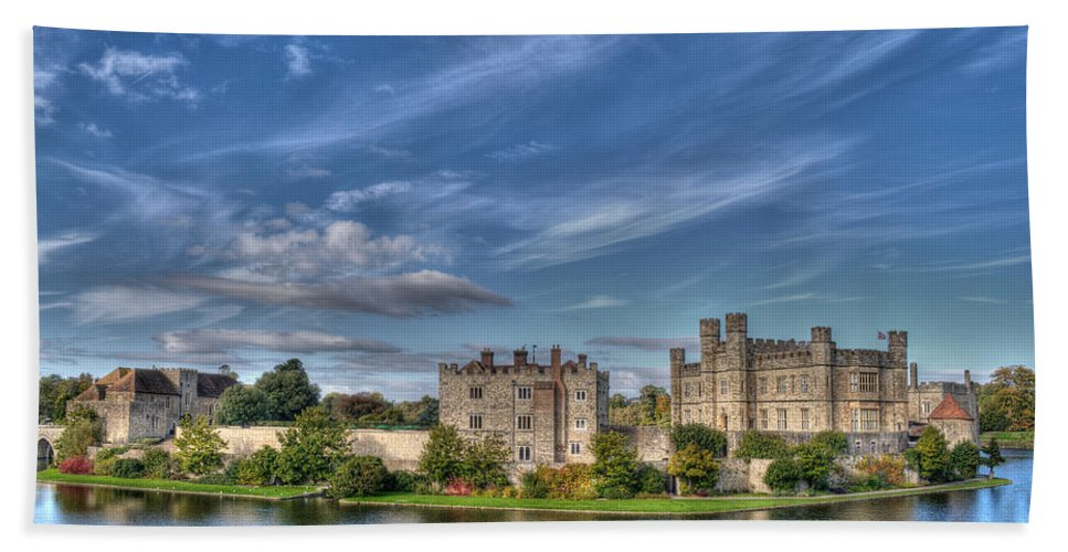 Leeds Castle Beach Towel featuring the photograph Leeds Castle And Moat Rear View by Chris Thaxter