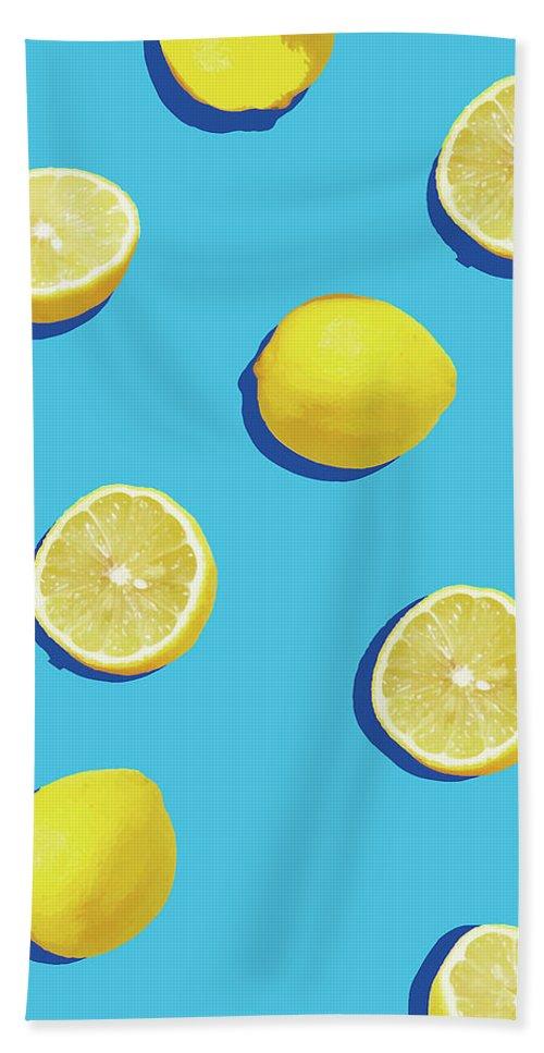 Lemon Beach Towel featuring the digital art Lemon Pattern by Rafael Farias