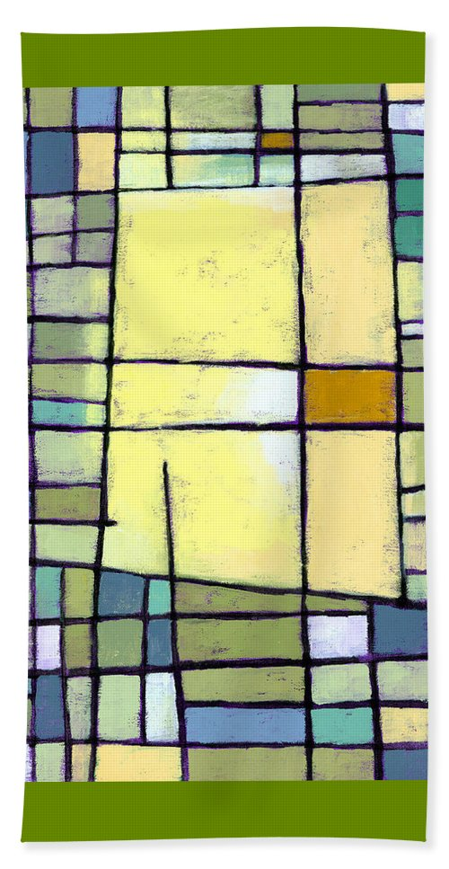 Abstract Beach Towel featuring the painting Lemon Squeeze by Douglas Simonson
