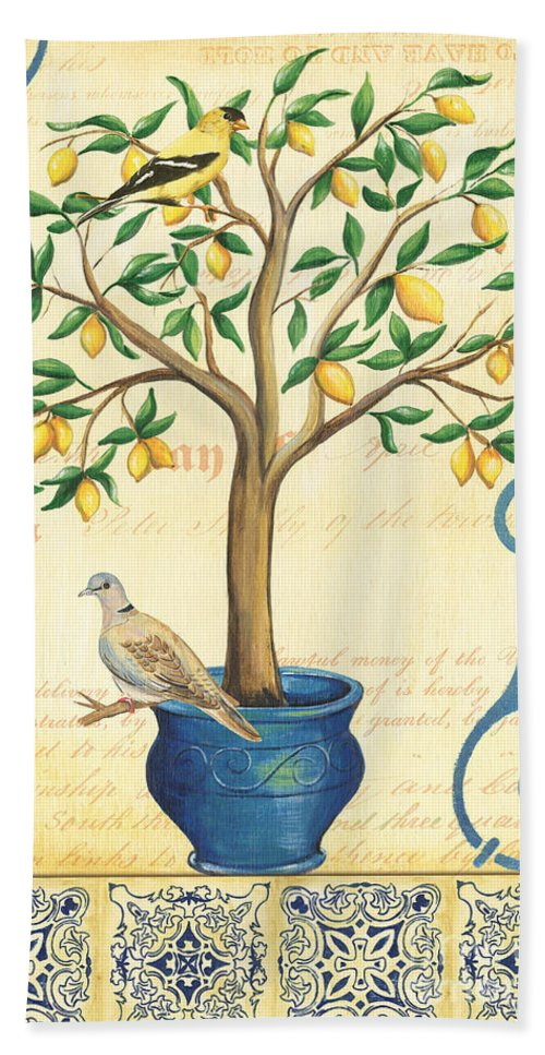 Lemon Beach Towel featuring the painting Lemon Tree Of Life by Debbie DeWitt
