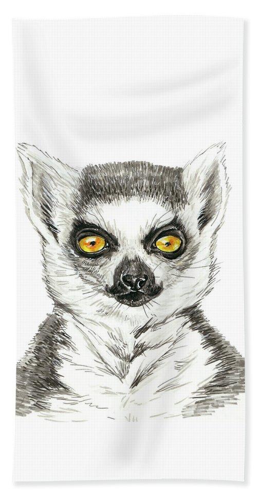Animal Beach Sheet featuring the painting Lemur by Katerina Kirilova