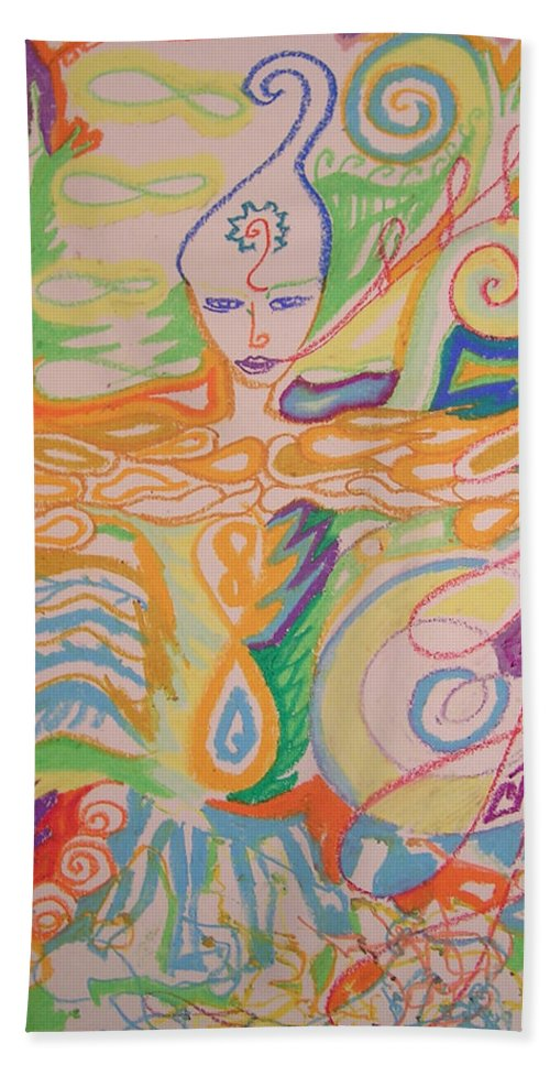 Vibrant Beach Towel featuring the pastel Lemurian Dreamer by Jelila