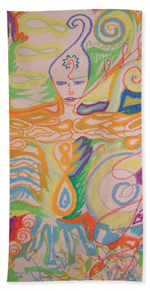 Atlantis Beach Towel featuring the painting Lemurian Healer by Jelila