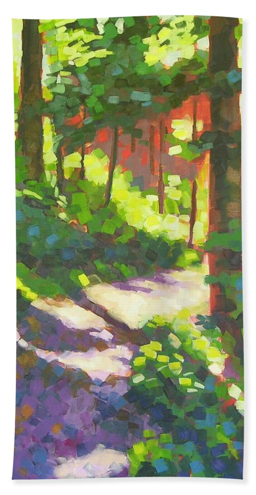 Landscape Beach Towel featuring the painting Lena Lake Trail II by Mary McInnis