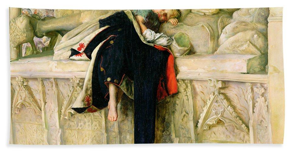 Xyc118544 Beach Towel featuring the painting L'enfant Du Regiment by Sir John Everett Millais