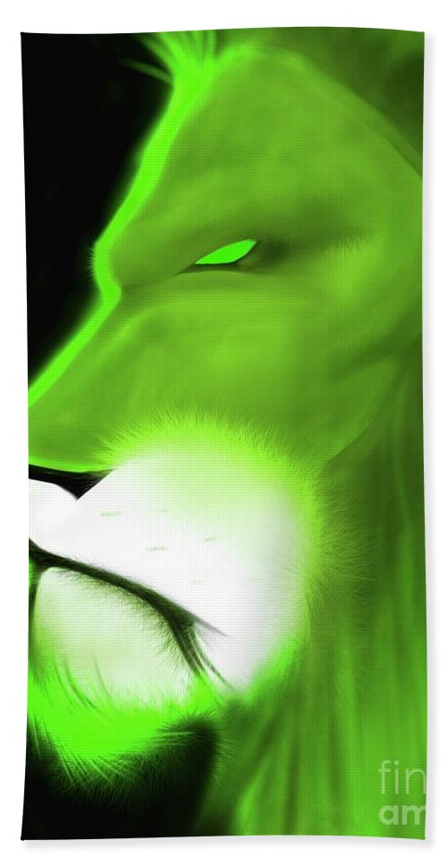 Beach Towel featuring the drawing Leo Profile- Lime by Javon Dixon