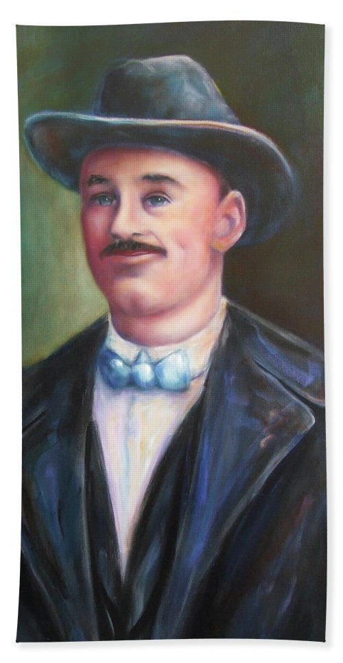 Portrait Beach Towel featuring the painting Leonard Mckay by Shannon Grissom