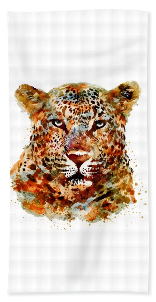 Leopard Beach Towel featuring the painting Leopard Head Watercolor by Marian Voicu
