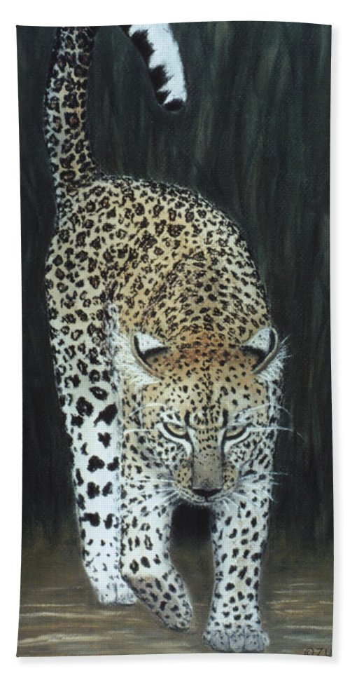 Karen Zuk Rosenblatt Art And Photography Beach Towel featuring the painting Leopard by Karen Zuk Rosenblatt