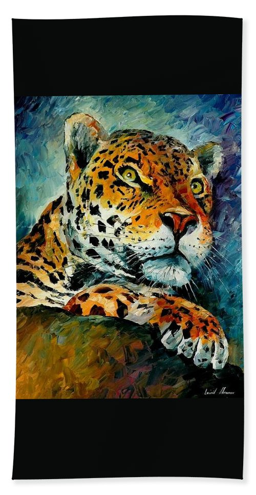 Animals Beach Towel featuring the painting Leopard by Leonid Afremov