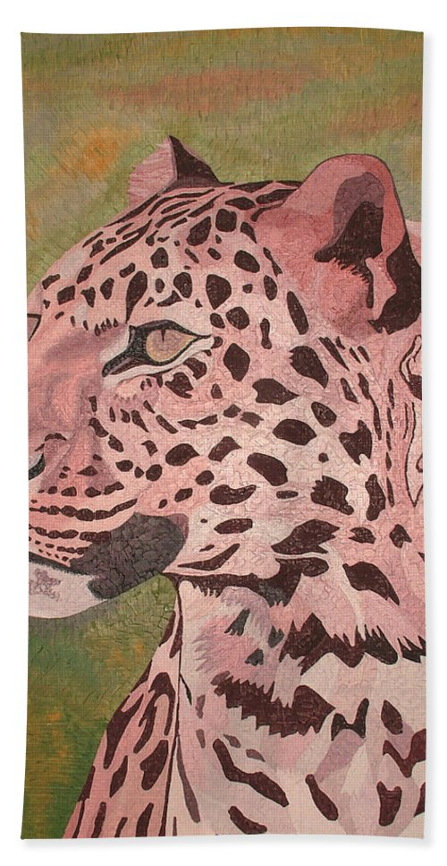 Oil Beach Towel featuring the painting Leopard by Peter Antos