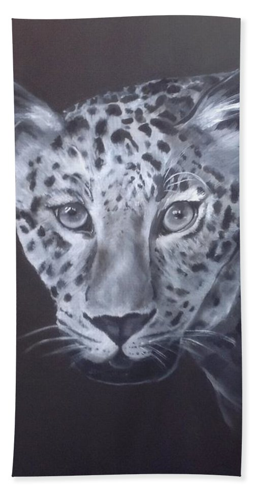 Leopard Beach Towel featuring the painting Leopard by Suzaan Heymans