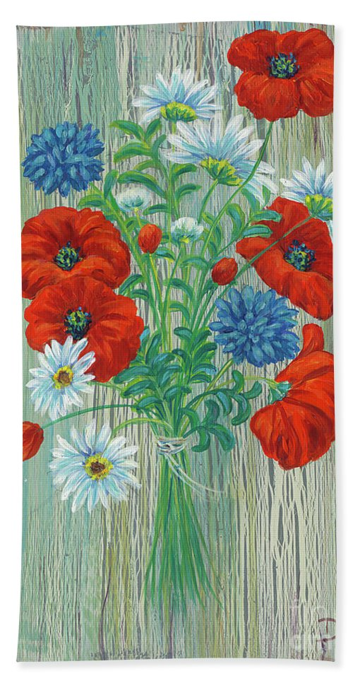 Flowers Beach Towel featuring the painting Les Coquelicots by Danielle Perry