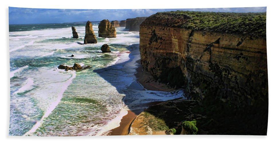 Twelve Apostles Beach Towel featuring the photograph Less Than Twelve by Douglas Barnard