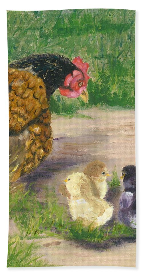 Cickens Chicks Hen Barnyard Bantams Farm Bucolic Nature Beach Sheet featuring the painting Lesson Time by Paula Emery