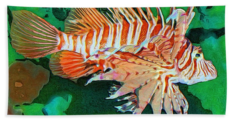 Fish Beach Towel featuring the painting Lester by Dominic Piperata