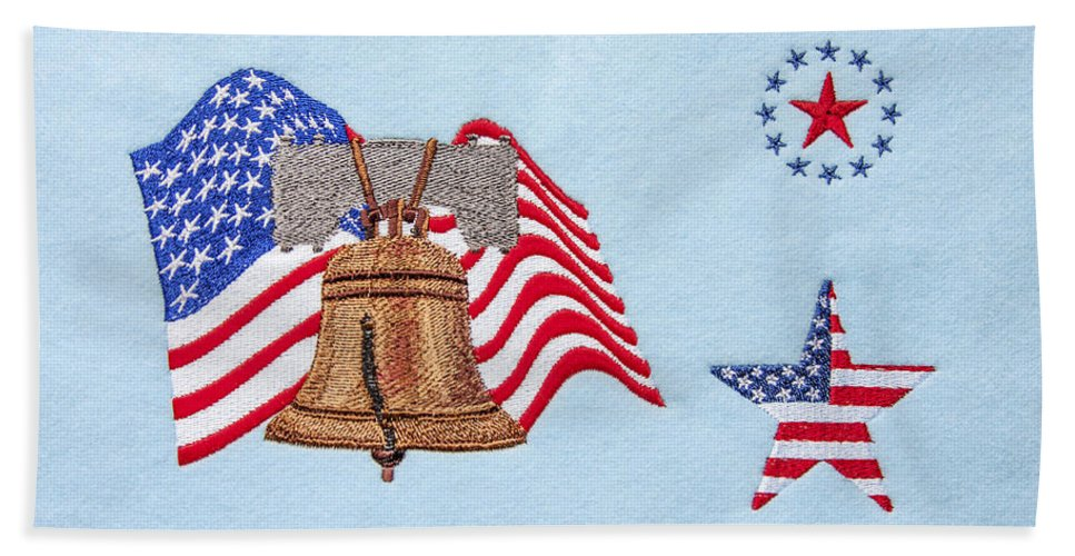 Patriotic Machine Embroidery Wall Hanging Beach Towel featuring the photograph Let Freedom Ring by Sally Weigand