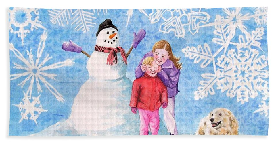 Snowman Beach Towel featuring the painting Let It Snow by Gale Cochran-Smith