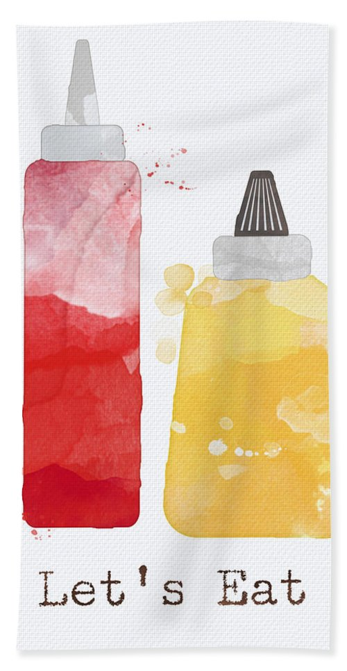 Ketchup Beach Towel featuring the painting Let's Eat by Linda Woods