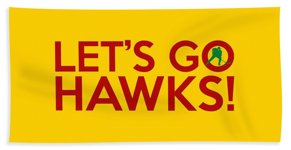 Hawks Beach Towel featuring the painting Let's Go Hawks by Florian Rodarte