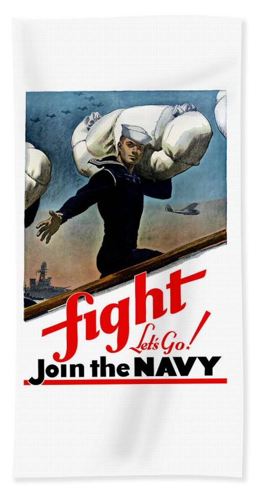 Join The Navy Beach Towel featuring the painting Let's Go Join The Navy by War Is Hell Store
