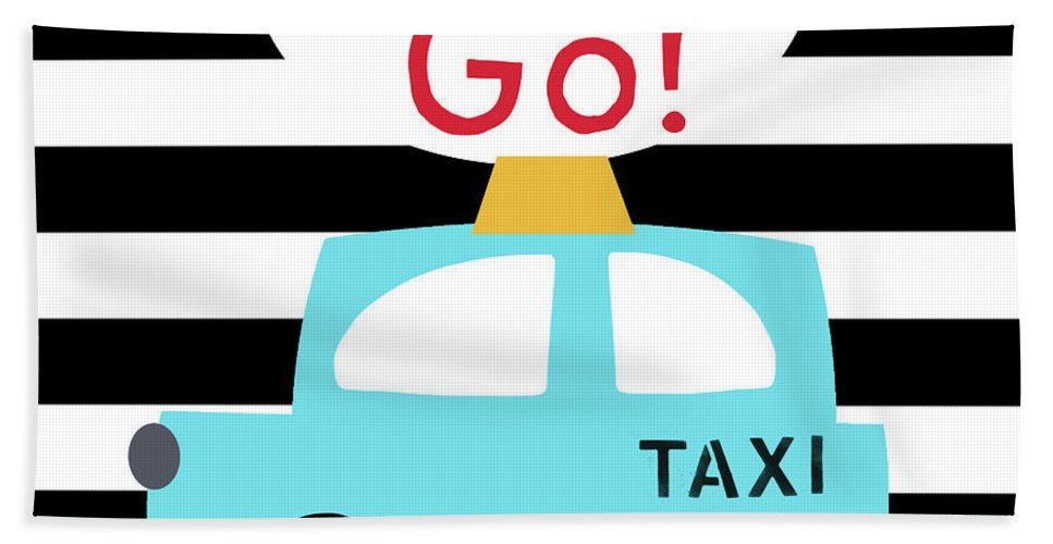Taxi Beach Towel featuring the digital art Let's Go Taxi- Art By Linda Woods by Linda Woods