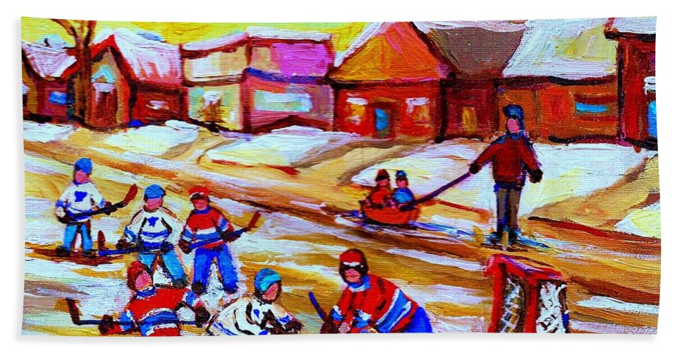 Hockey Canvas Prints Beach Towel featuring the painting Lets Play Hockey by Carole Spandau