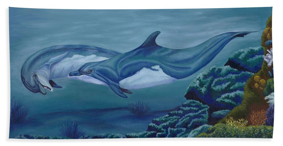 Paintings. Oils Beach Towel featuring the painting Lets Play by Lana Tyler